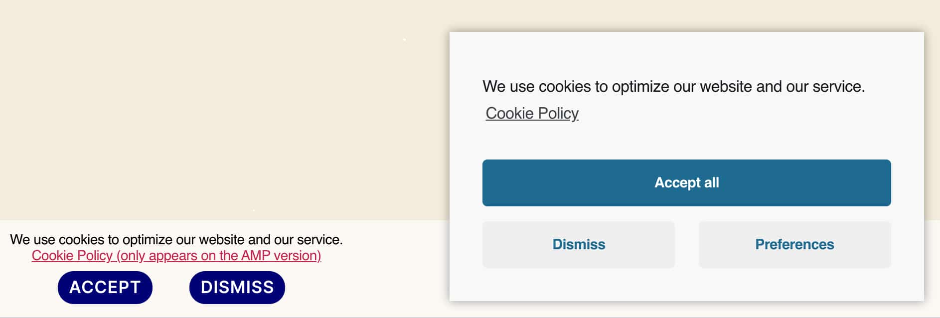AMP Banner including the Cookie Policy link